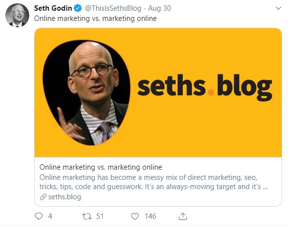 A tweet from Seth Godin