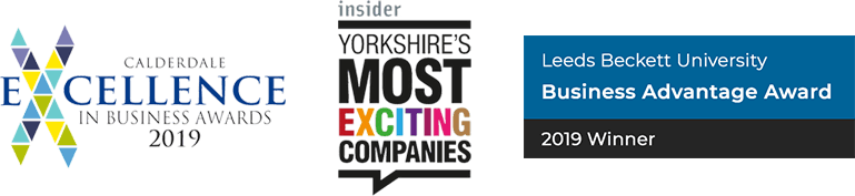Winners of Calderdale Excelence in Business Award 2019. Featured in Yorkshire Insider's Most Exciting Companies.